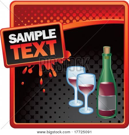 wine glass and bottle red and black halftone grungy ad
