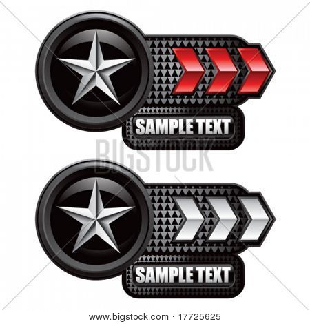 silver star on red and white arrow nameplates