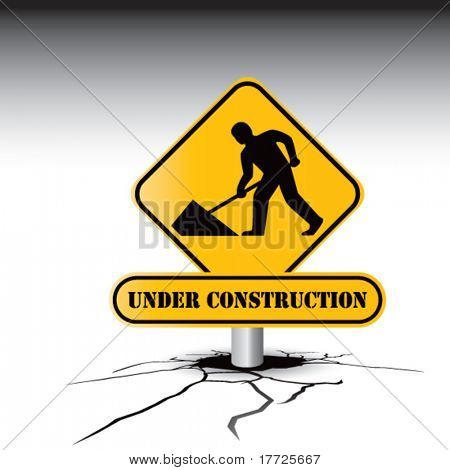 construction sign cracked ground