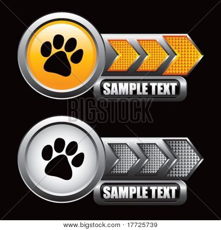 paw print orange and gray arrow nameplates