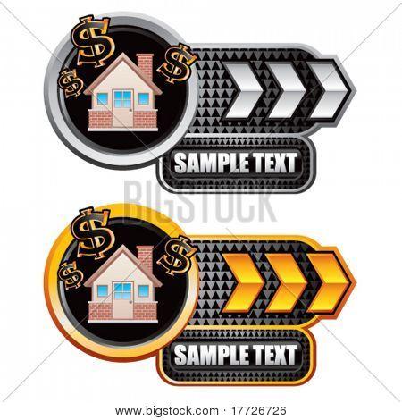 money house white and gold arrow nameplates