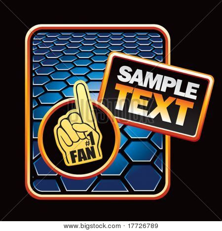 sports fan hand blue hexagon template