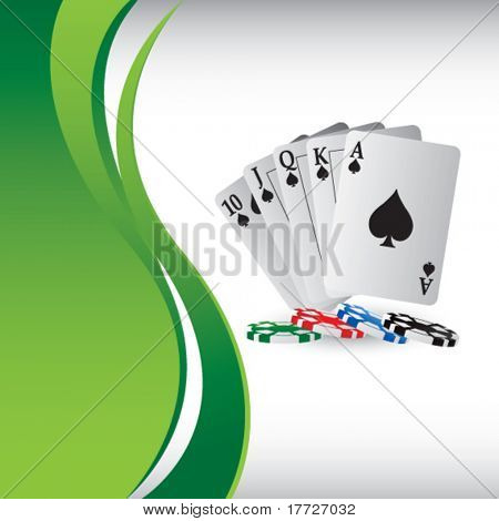 playing cards on vertical green wave