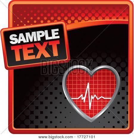 Heart beat anuncio de medios tonos de rojo y negro