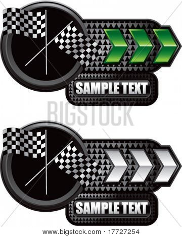 crossed checkered flags green and white arrow nameplates
