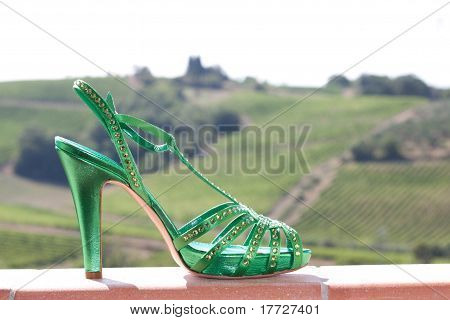 Green high heels sandal