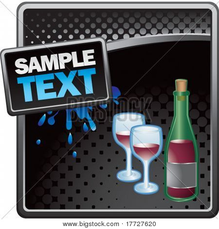 wine glass and bottle black halftone grungy template