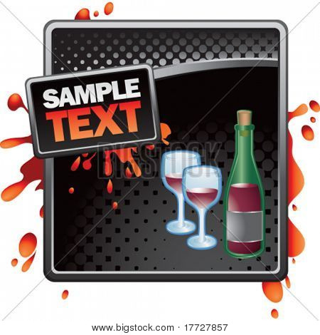wine glass and bottle black halftone grungy ad