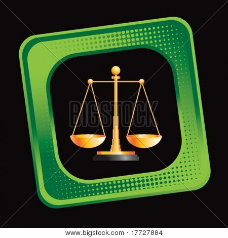 justice scales green tilted web button