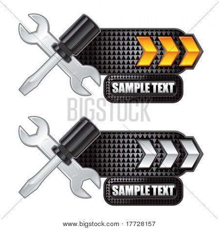 screwdriver and wrench gold and white arrow nameplate