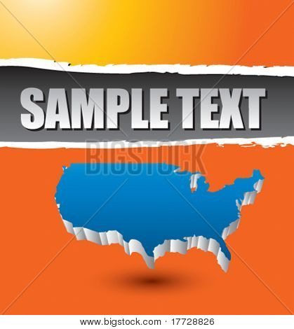 america shape on orange ripped banner