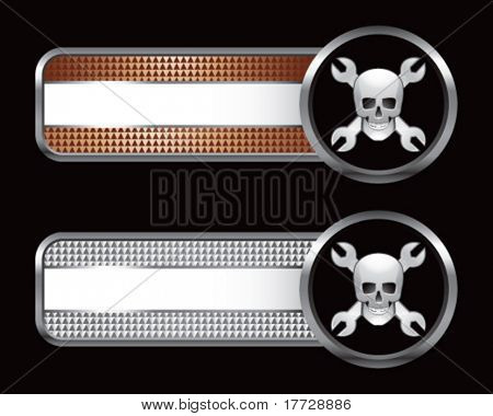 skull with crossed wrenches on checkered tabs