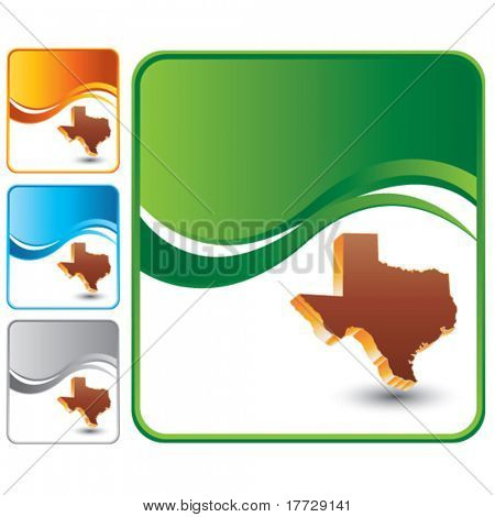 texas state on green wave background