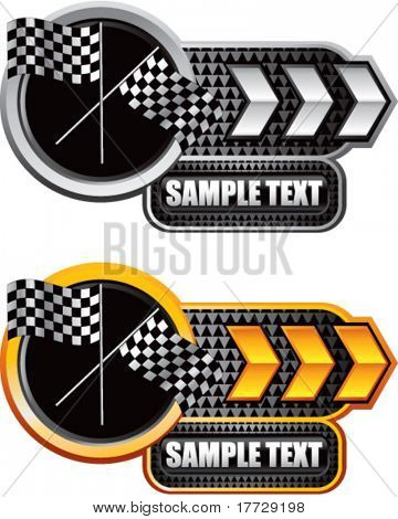 crossed checkered flags white and gold arrow nameplates