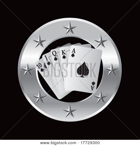 playing cards on silver star round frame