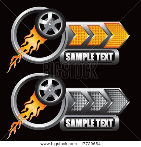 flaming racing tire on orange and gray arrow nameplates