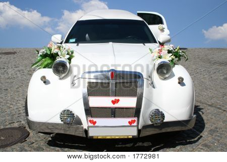 Just Married Limousine. Beautiful Car