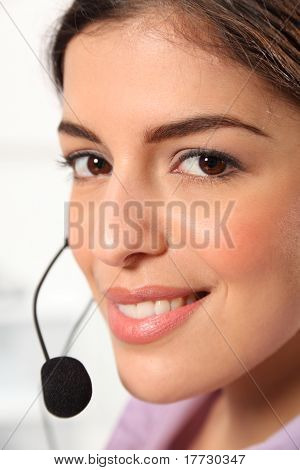 Receptionist portrait with headset