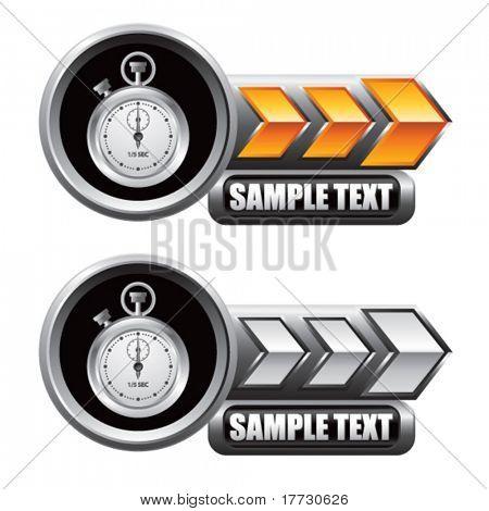 stop watch orange and white arrow nameplates