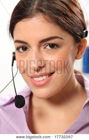 Telephone operator smiling