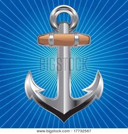 anchor symbol blue starburst