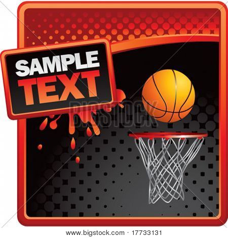 basketball hoop red and black halftone grungy ad