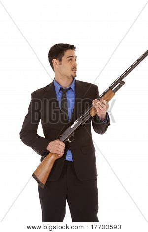 Business Man Shotgun Hold
