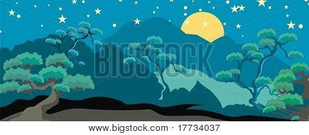 Fancy Tree Nightscape Background