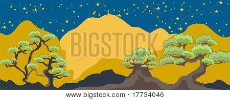 Fancy Tree Nightscape Background