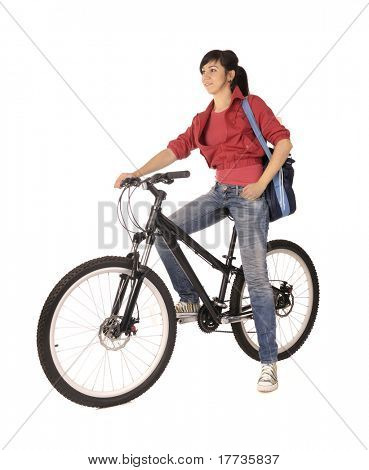 Young woman bicyclist isolated on white, studio shot.