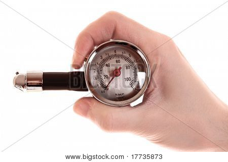 Plastic tyre-pressure gauge isolated on white