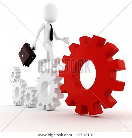 3d man business man running on some colorful wheel gears