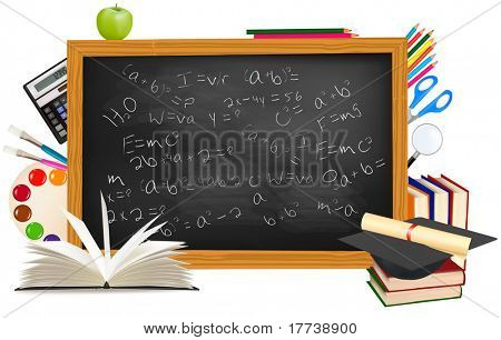 zurück in die Schule. schwarz Schreibtisch mit Schulmaterial. Vektor.