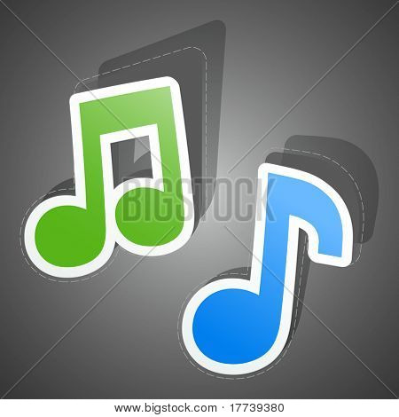 Music sticker set. Vector illustration (eps10).