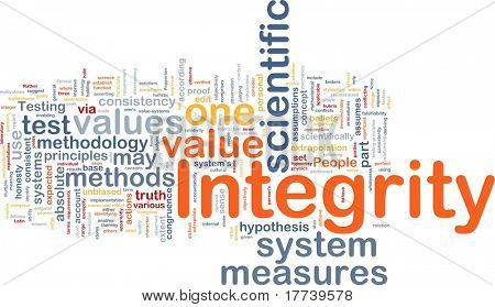 Background concept wordcloud illustration of integrity