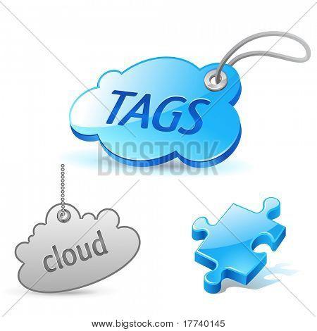 conjunto de ícones de tag de nuvem de Internet