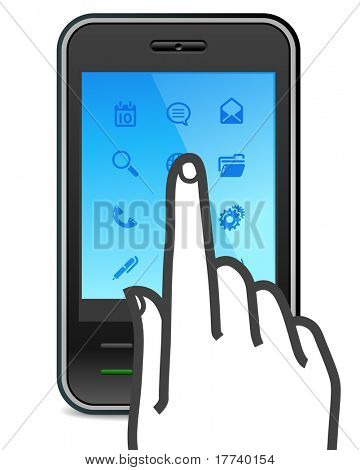 touch screen smartphone icon with finger pushes button