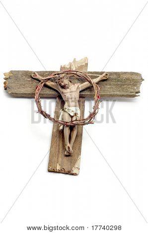 图的耶稣基督在十字架和血腥荆棘的冠冕