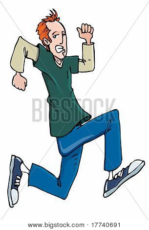 Cartoon Red Head Teenager Running In Sneakers