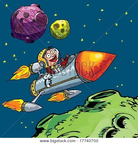 Cartoon Of Little Boy In A Rocket