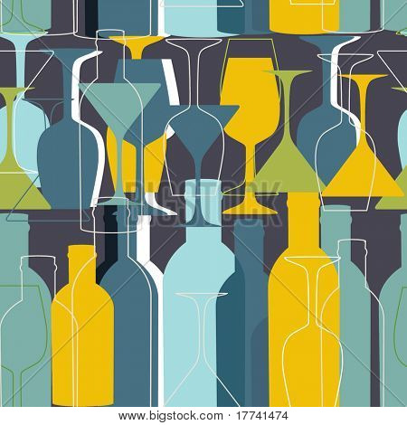 Seamless pattern with wine bottles and glasses