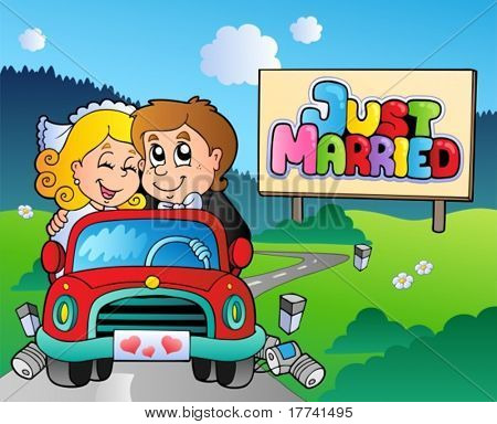 Just married couple driving car - vector illustration.