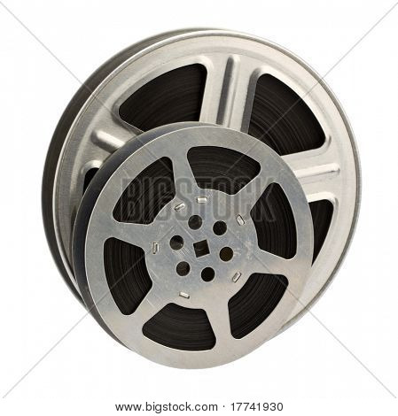 16 mm motion picture film reels, isolated on white background