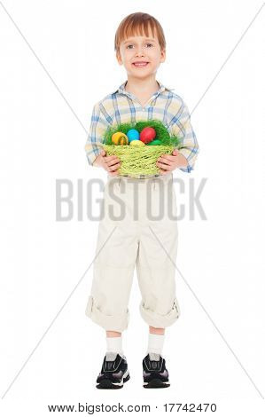 portrait of smiley little boy with easter eggs. isolated on white background