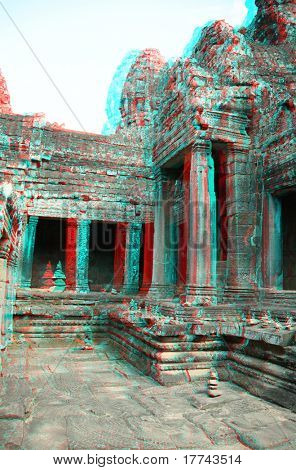 3D stereo photo Angkor Wat - ancient Khmer temple in Cambodia. UNESCO world heritage site (you need anaglyph stereo glasses to watch it)