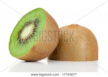 Halved kiwi on a white background