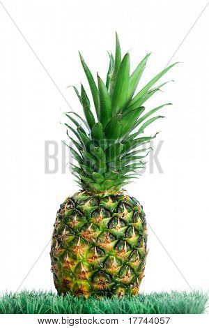 Pineapple on grass on a white background