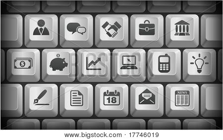 Economy Icons on Gray Computer Keyboard Buttons Original Illustration