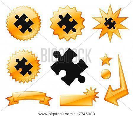 Puzzle Piece Icon on Orange Burst Banners and Medals Original Vector Illustration
