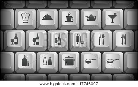Restaurant Icons on Gray Computer Keyboard Buttons Original Illustration